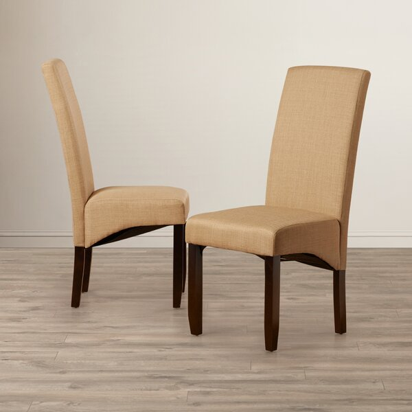 Pandora Linen Upholstered Parsons Chair in Khaki (Set of 2) by Andover Mills Andover Mills™