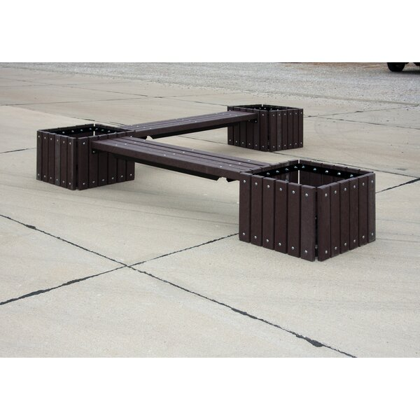 Carty Recycled Plastic Bench with 3 Planters by Freeport Park