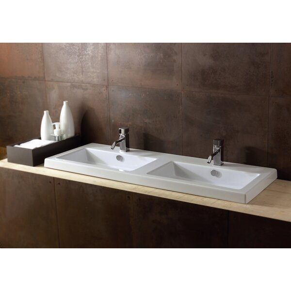 Cangas Ceramic Rectangular Drop-In Bathroom Sink with Overflow by Ceramica Tecla by Nameeks