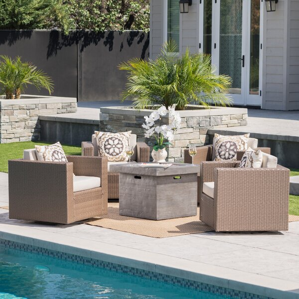 Schiller 5 Piece Conversation Set with Cushions by Latitude Run