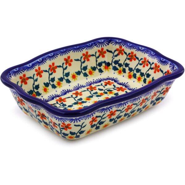 Rectangular Sunflower Polish Pottery Baking Dish by Polmedia