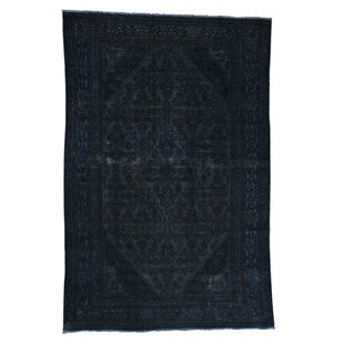 Inexpensive One-of-a-Kind Callista Vintage Overdyed Hand-Knotted 6'8 x 9'9 Wool Black Area Rug By Isabelline