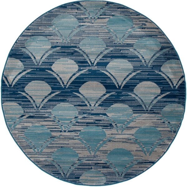 Ceasar Waves Gray Indoor/Outdoor Area Rug by Highland Dunes