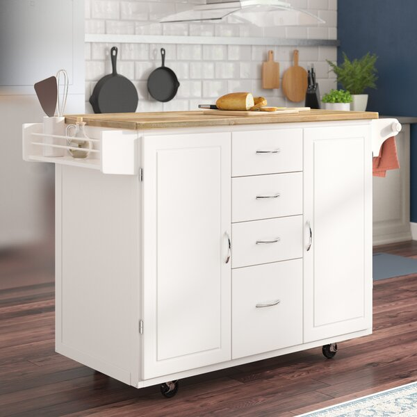 Harwick Kitchen Island With Wooden Top By Alcott Hill Discount