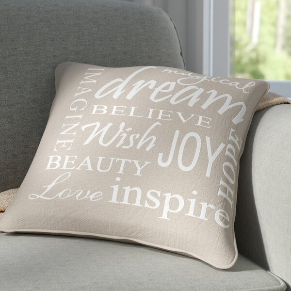 Shyla Inspire Word Decorative Cotton Pillow by Winston Porter