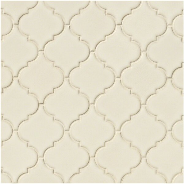 Arabesque 10.83 x 15.5 Ceramic Mosaic Tile in Antique White by MSI