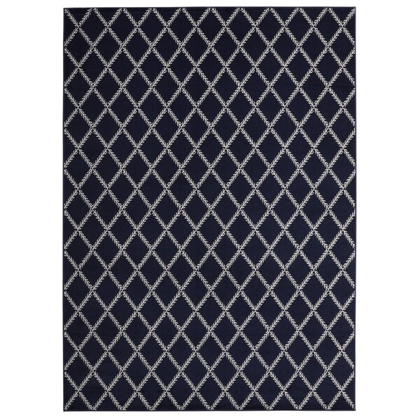 Buchan Geometric Stripes Design Navy/Ivory Area Rug by Charlton Home