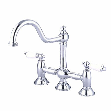 Double Handle Widespread Kitchen Faucet With Porcelain Lever Handles By Elements Of Design