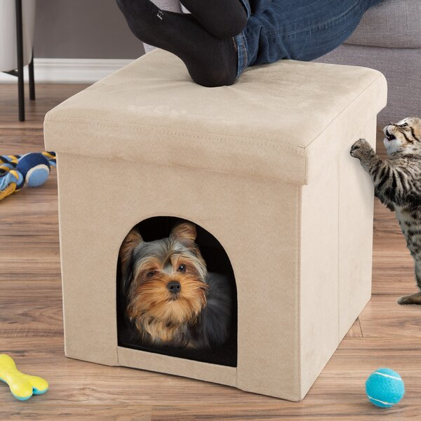 Pet House Ottoman Hooded/Dome with Fold Flat by Petmaker