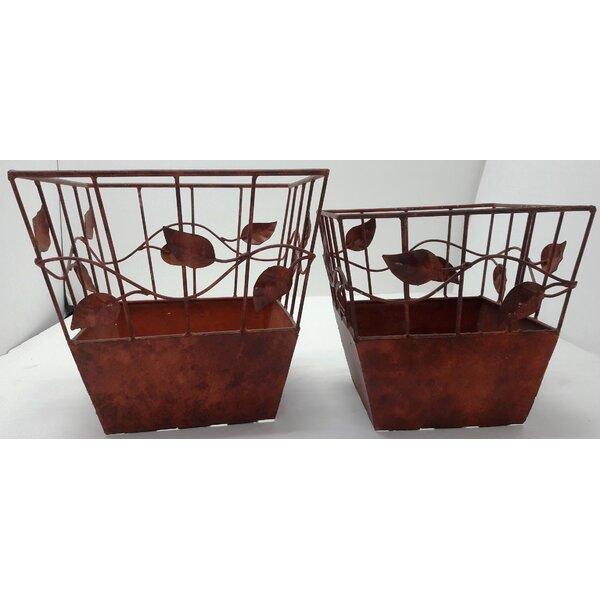 Creve 2 Piece Iron Pot Planter Set by Alcott Hill