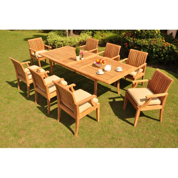 Livingon Luxurious 9 Piece Teak Dining Set by Rosecliff Heights