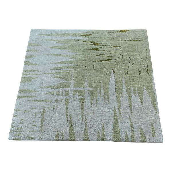 One-of-a-Kind Lauber Abstract Modern Oriental Hand-Knotted Silk Ivory Area Rug by Wrought Studio