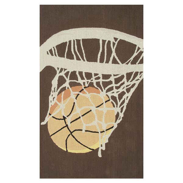 Hoops Hand-Hooked Brown Area Rug by The Conestoga Trading Co.