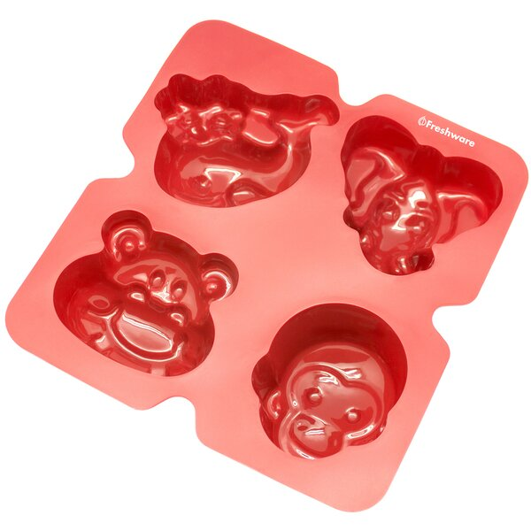 4 Cavity Elephant, Monkey, Hippo and Whale Silicone Mold Pan by Freshware