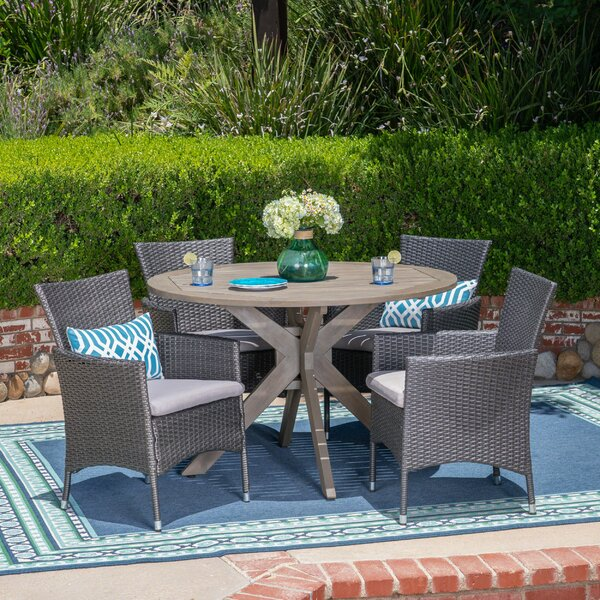 5 Piece Dining Set with Cushions by Wrought Studio
