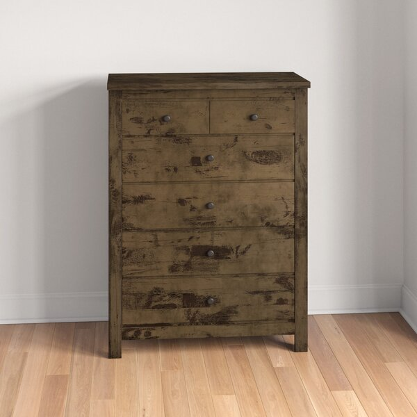 Teignmouth Weathered Distressed 6 Drawer Chest by Three Posts