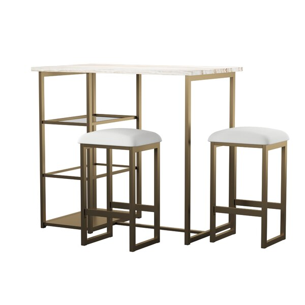 Denham 3 Piece Pub Table Set By Mercury Row