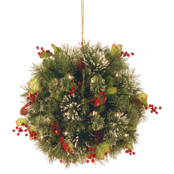 Pine Pre-Lit Kissing Ball by Three Posts