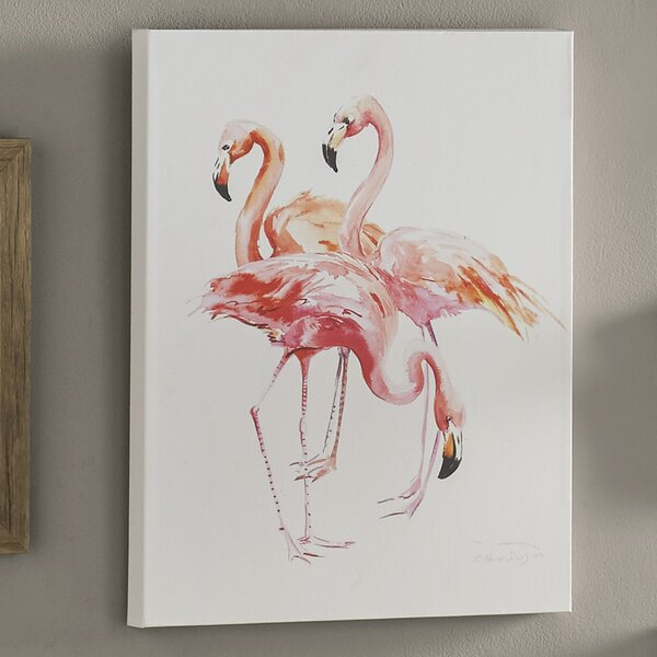 Flamingo Painting on Wrapped Canvas by Bay Isle Home