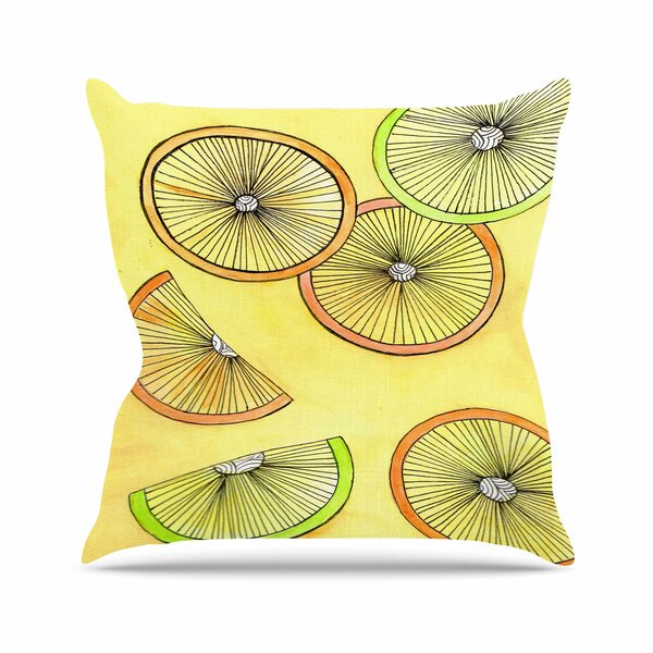 Rosie Brown Lemons and Limes Fruit Outdoor Throw Pillow by East Urban Home