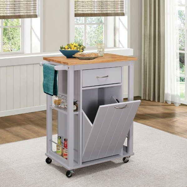 Kenedy Kitchen Cart with Wood Top by Winston Porter