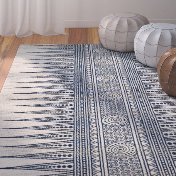 Elson Ivory/Blue Area Rug by Mistana