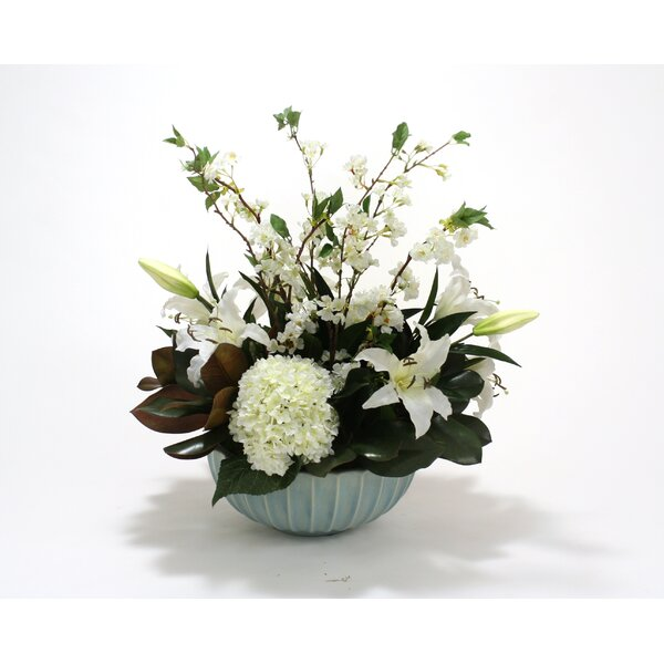 White Hydrangea, Casablanca Lily, and Cherry Blossoms in Fluted Bowl by Distinctive Designs