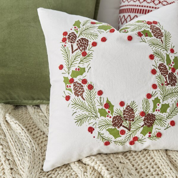 Holiday Wreath Embroidered Pillow Cover by Birch Lane™