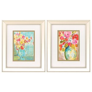 Pastel Vase 2 Piece Framed Painting Print Set by Propac Images