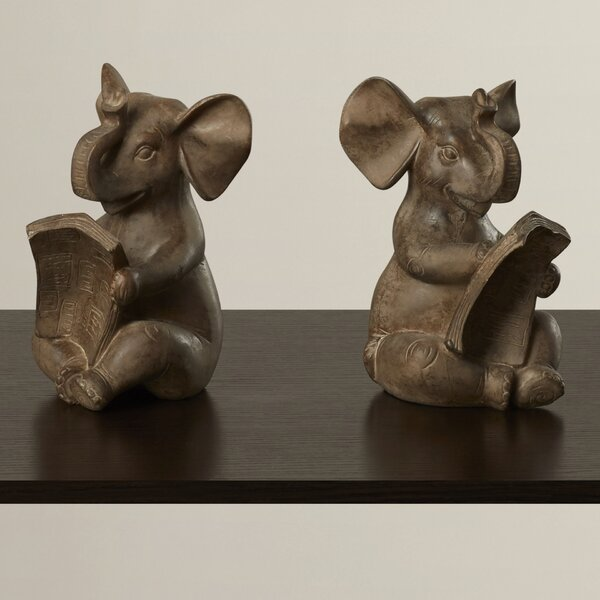Brown Resin Elephant Bookends (Set of 2) by World Menagerie
