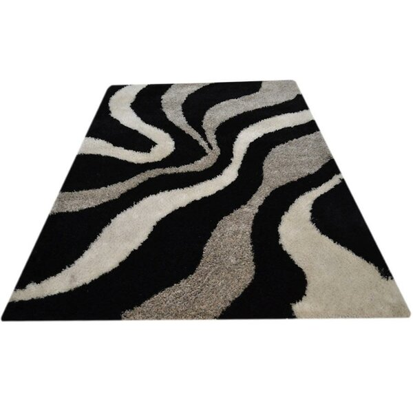 Sunni Shag Hand-Tufted Black/Gray/Beige Area Rug by World Menagerie