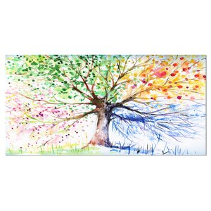Four Seasons Tree Floral Painting Print on Wrapped Canvas by Design Art