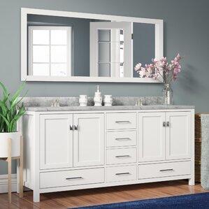 double sink white vanity. Serigne 72 8  Double Bathroom Vanity Set with Carrara White Top and Mirror Vanities You ll Love Wayfair