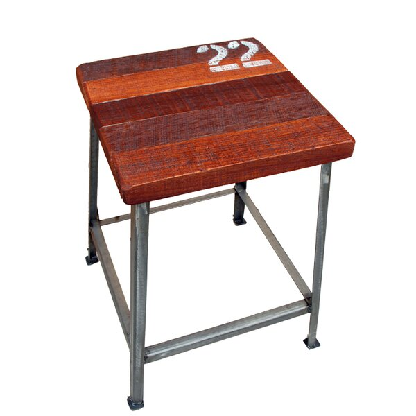 22 Metal and Tropical Wood Stool by Asian Art Imports