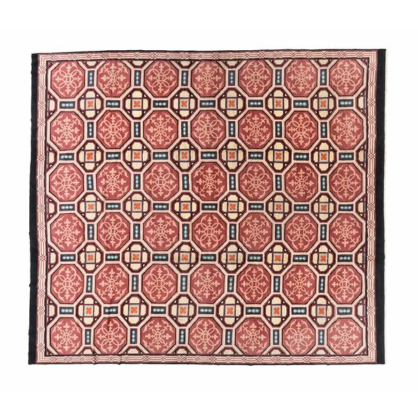 One-of-a-Kind Cathedral Hand-Knotted Eclectic Red 14' x 16' Wool Area Rug