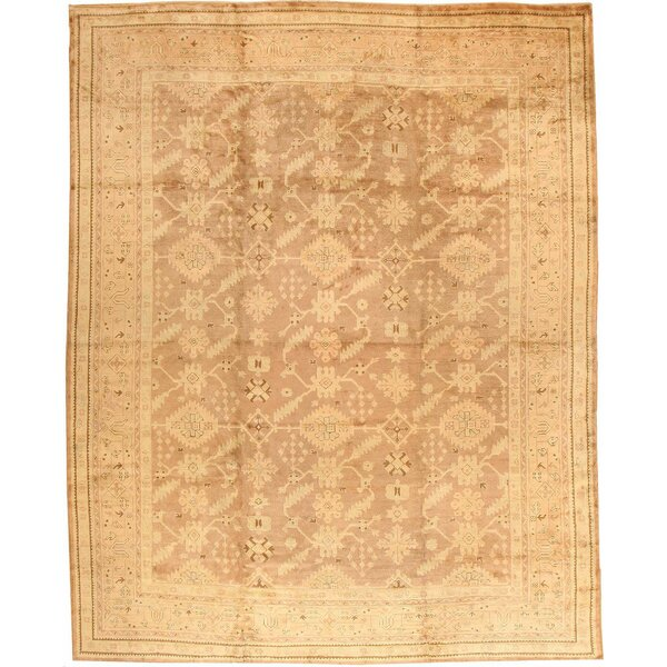 One-of-a-Kind Turkish Hand-Knotted 1900s Brown 12' x 14'9 Wool Area Rug