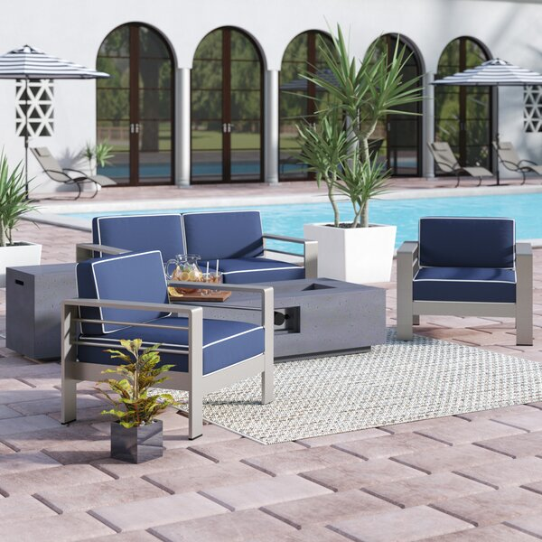 Durbin 5 Piece Sunbrella Sofa Set with Cushions by Wade Logan