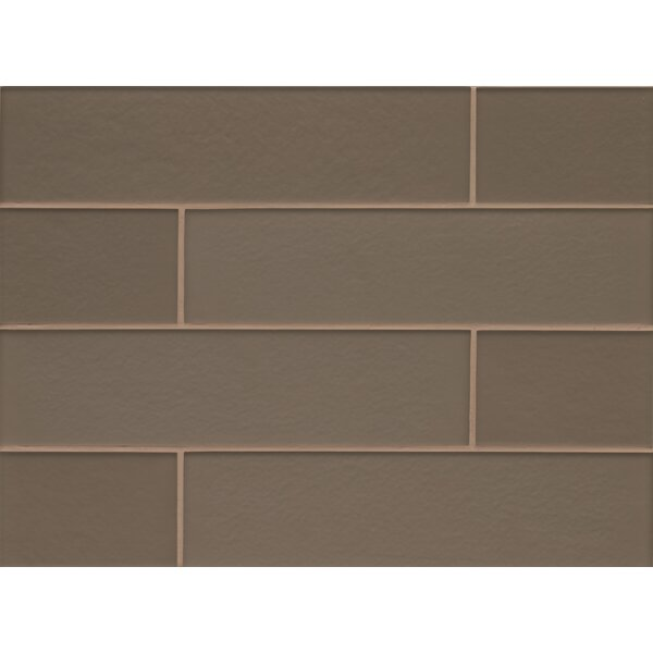 Remy Glass 4 x 16 Mosaic Field Tile Gloss in Taupe by Grayson Martin