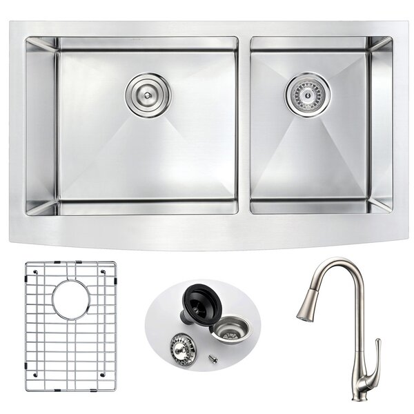 Elysian Double Bowl 32.875 L x 20.75 W Farmhouse Kitchen Sink with Faucet and Drain Assembly by ANZZI