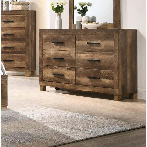 Conneaut 6 Drawer Double Dresser with Mirror by Loon Peak