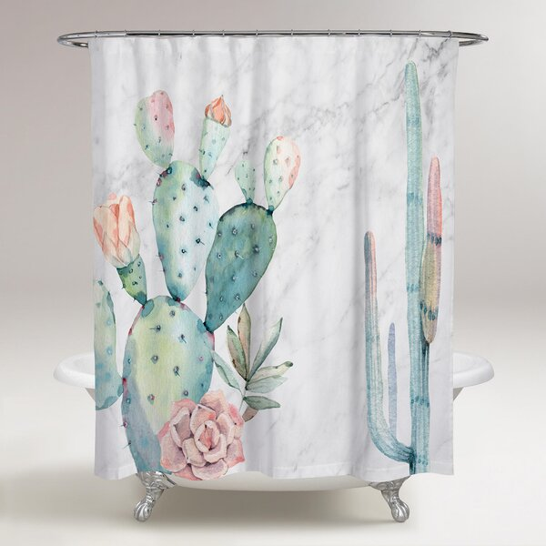 Rosen Marble and Succulents Shower Curtain by Bungalow Rose
