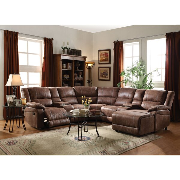 Marcellus Leather Reclining Sectional by Charlton Home