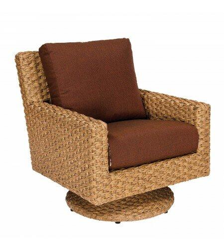 Mona Swivel Patio Chair with Cushions by Woodard