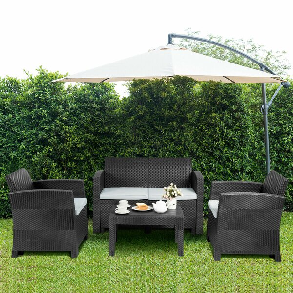 Nokes Patio 4 Piece Sofa Seating Group with Cushion by Wrought Studio