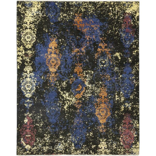 One-of-a-Kind Dewayne Hand-Knotted Wool Black/Blue Indoor Area Rug by Isabelline