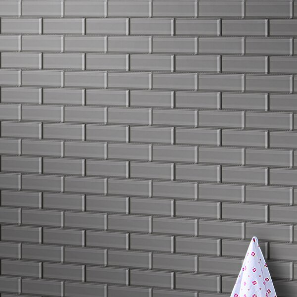 Premium Series 2 x 6 Glass Subway Tile in Dark Gray by WS Tiles