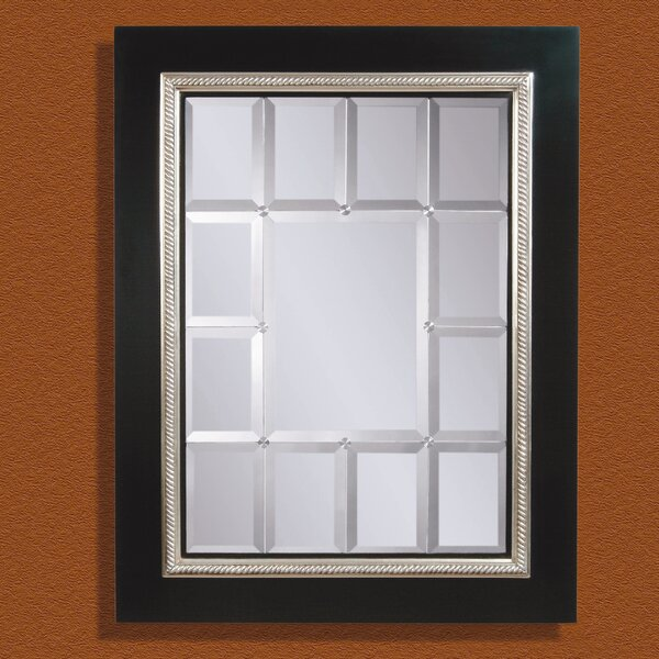 Rectangle Black and Antiqued Silver Leaf Wall Mirror by Darby Home Co