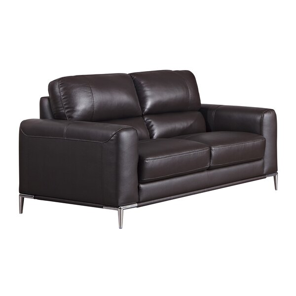 Hennis Leather Loveseat by Orren Ellis