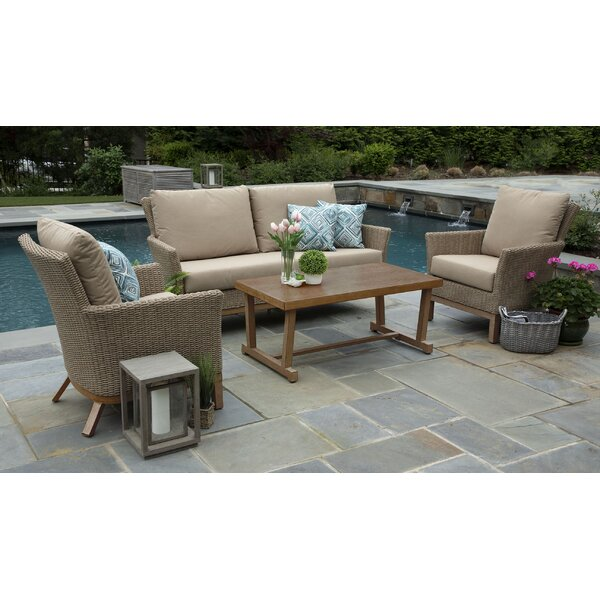 Lesly 4 Piece Sunbrella Sofa Set with Cushions by Gracie Oaks
