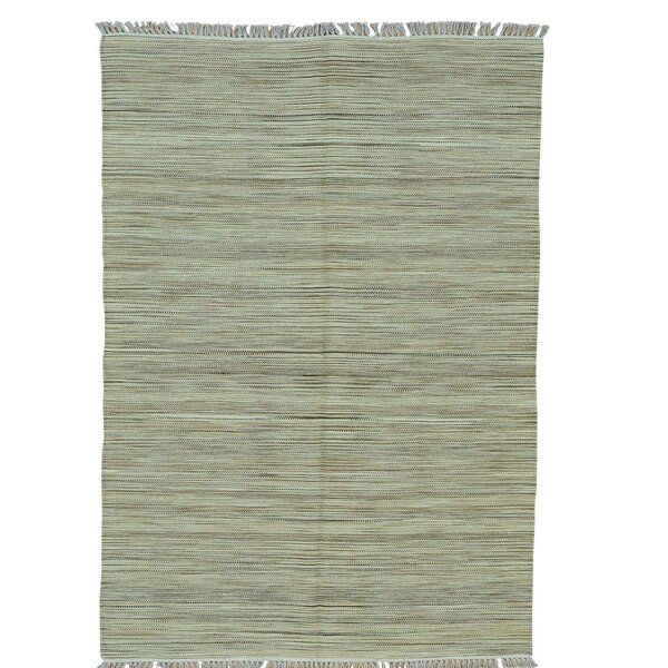 Striped Durie Kilim Flat Weave Oriental Hand-Knotted Light Green Area Rug by Bloomsbury Market